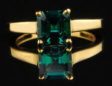 14KT Yellow Gold Natural Green Emerald 1.50 Carat Octagon Shape Women's Ring