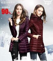 Women's Ultra-light Duck Down Long Jacket Coat Slim Fit Hooded Warm Outerwear