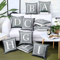 Fashion Sofa Cushion Pillow Cover Grey Letter Home Pillowcase Office Decor