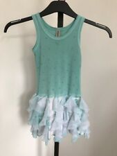 Mint Green Embellished Tie Dye Designer Dress With Mesh Age 4 USA Sleeveless