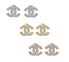 Round Cut White Cubic Zirconia Fashion C Shape Stud Earrings 925 Sterling Silver
