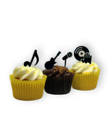 30 STAND UP Music Note Musical Silhouette Edible Wafer Paper Cake Toppers