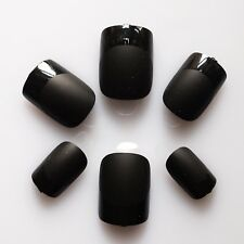 24 Pre-glued Nail, Design Nails, High Quality Artificial Nail Tips #Black French
