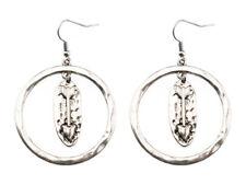EARRINGS Burnish Silver Plated Round Dangle Arrow Pierced Wire Earrings