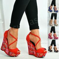 Ladies Womens Floral Wedge Platforms High Heels Ankle Strap Shoes Size Uk 3-8