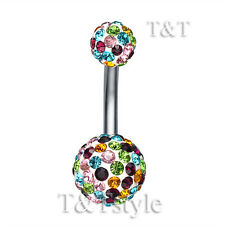 T&T 10mm Multi Color Crystal Ball Belly Bar Ring Bl138Z