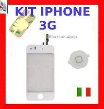 BIANCO Vetro+Touch Screen+Tasto home Apple Iphone 3G con Biadesivo per Vetrino