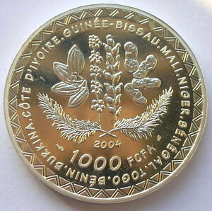 West African 2004 World Cup 1000 Francs Silver Coin,Proof