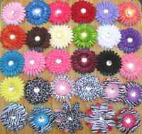 "20 4""GERBERA Daisy flower Clips Baby Girl Hair Bow For Headband Accessories"