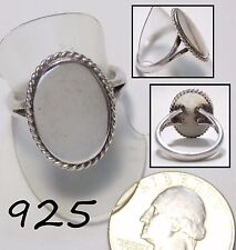 Lg Vintage 925 Sterling Silver Signet Ring, Flat Engravable, Rope Border, Size 9
