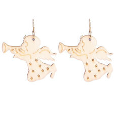 Cute Light Oak Wood Angel Singing Dangling Earrings drops fashionable E1238