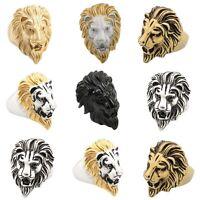 Men's Lion King Head Punk Biker Rings Size 7-11 316L Stainless Steel Jewelry Hot