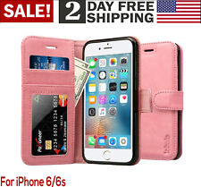 iPhone 6/6S Case Wallet Leather Magnetic Smart Flip Folio Cover Card Slot Pink