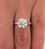 2.00 Ct VVS1 Round Cut Diamond Engagement Wedding Rings White Gold/Silver Size