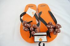 Hotflops Flip Flops Beach Sandals Slip On Thong Orange Black Football size 6-7