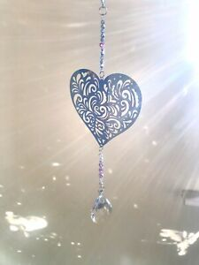 Crystal Glass & Stainless Steel Hanging Suncatcher Mobile-Home 50cm Long