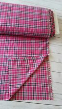 BTY Pink Navy Flannel Cotton Plaid Fabric By The Yard