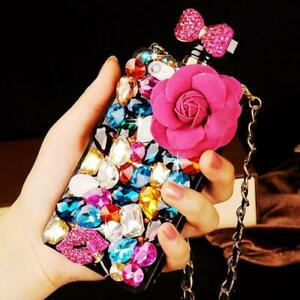 For iPhone 12 Pro Max 11 XS XR 8 7 Jewelled Plush Floral Perfume Diamond Case