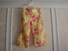 Nwt Janie And Jack Girls Floral Sateen Crop Pants 5 5T Yellow