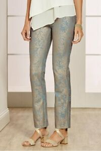 Soft Surroundings Size Med. 10-12 Palladium Frosty Aqua Ankle Pants MSRP $89.95