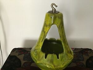 Mid Century 70's Glazed Ceramic Hanging Ashtray W/Original Chain