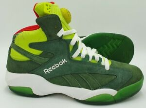Reebok Shaq Attaq Mid Suede/Leather Trainers V61428 Green UK7.5/US8.5/EU41