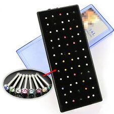60pcs Multi-Color Crystal Rhinestone Nose Ring Stud Surgical Steel Body Piercing