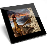 1 x Awesome Dragon Castle Gamer Art Glass Coaster - Kitchen Student Gift #14091
