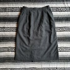 Vintage USA Made The Villager Sz 16 100% Wool Midi Pleated A-Line Skirt Gray