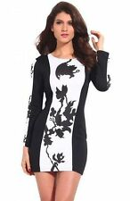 Polyester Long Sleeve Floral Petite Dresses for Women