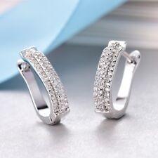 Women White Sapphire Cubic Zirconia Crystal Small Silver Hoop Huggie Earrings