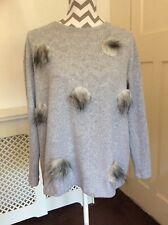 Zara Grey Soft Fine Knit Fluffy Spot Jumper, UK Size L 12 New