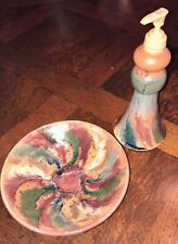 Hand thrown Pottery soap dish & soap/lotion pump dispenser Blue, dk red, green