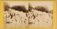 Italia Cascade Del Palais Royal Caserta c1865 Foto Stereo Vintage Albumina