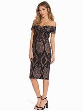 BNWT River Island Black Nude Bardot Neckline Lace Pencil Dress Size 8  RRP £75