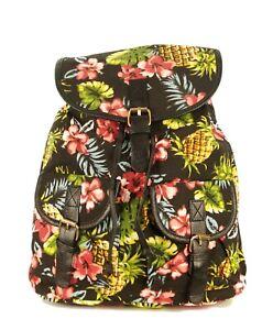 Damen Rucksack Blumenmuster Cityrucksack Schultertasche Backpack Freizeit Canvas