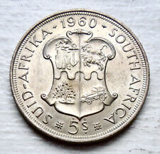 SOUTH AFRICA KM# 55, 1960 5 SHILLINGS SILVER 39mm UNC
