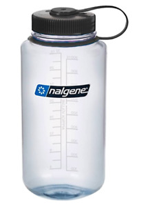 Nalgene 32 oz wide mouth clear bottle with black lid