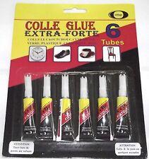 Lot 6 colle liquide glue extra forte caoutchouc cuir métal verre plastique 3 g