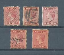 Antigua 1872-6 1d Couronne CC sg.13, 16, 17 utilisé, couronne CA sg.26 MH et 25 Stylo