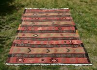 Turkish Vintage Ethnic Kilim Area Rug Hand Knotted Tribal Wool Carpet 4x6 ft