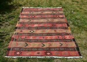 Turkish Vintage Ethnic Kilim Area Rug Hand Knotted Tribal Wool Carpet 4x6 ft