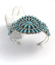 Native American Sterling Silver Navajo Turqouise  Cluster Cuff Bracelet