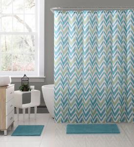 Nova Aqua Blue Green White Fabric Shower Curtain: Chevron Geometric Design