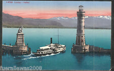 Deutschland Picture Postcard AK Bodensee Lindau Hafeneinfahrt Koloriert um 1920