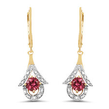 925 Sterling Silver Lever Back Dangle Earrings 2.12 ct Genuine Pink Tourmaline