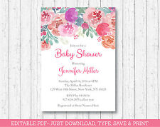 Pink Watercolor Flowers Floral Baby Shower Invitation Printable Editable PDF
