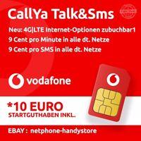 Vodafone-Talk&SMS Sim Karte mit 10€ Guthaben CallYa 9 Cent Prepaid Handy Card-D2