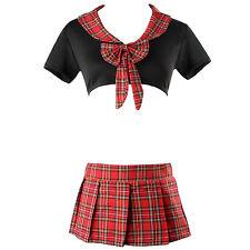UK Sexy Women Lingerie Nightdress School Girl Uniform Fancy Dress Costume Outfit