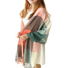 Women Girl Winter Warm Cashmere Plaid Check Long Pashmina Shawl Wrap Scarf Stole